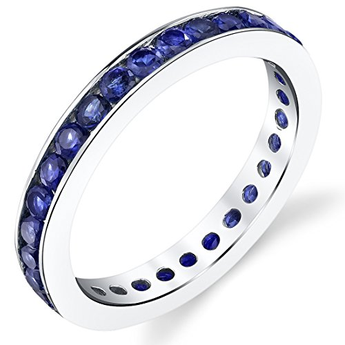 - 1.50 Carats Created Blue Sapphire Eternity Ring Sterling Silver Size 7