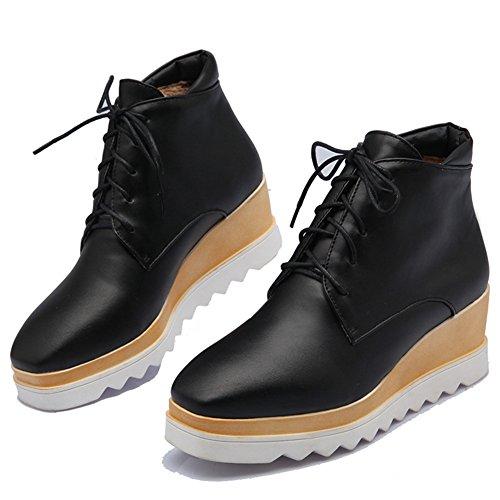 Fashion Heel Womens Wedge Heel Platform Lace up Martin Ankle Boot Black f8g4UekQt