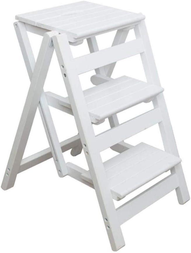 XITER Escaleras de Tijera Sillas de Taburete de Escalera de Madera estantes de Escalera de Pedales Anchos Plegables