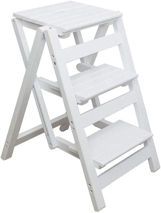 XITER Escaleras de Tijera Sillas de Taburete de Escalera de Madera, estantes de Escalera de Pedales Anchos Plegables: Amazon.es: Hogar
