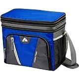Ozark Trail 12-Can Cooler, expandable top soft-sided Cooler, Removable plastic hardliner, dry storage, Side mesh pockets, Adjustable, padded shoulder strap, Polyethylene - Blue