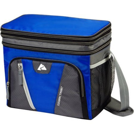 Ozark Trail 12-Can Cooler, expandable top soft-sided Cooler, Removable plastic hardliner, dry storage, Side mesh pockets, Adjustable, padded shoulder strap, Polyethylene - - Hardliner Cooler