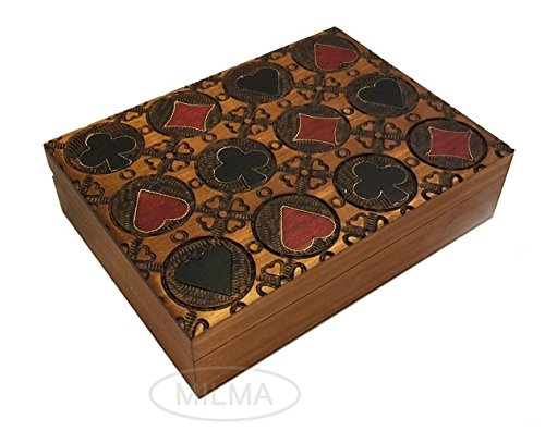 Playing Card Box Four Suits Card Box Polish Handmade Wood Keepsake Box