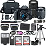 Canon EOS Rebel T7i DSLR Camera Bundle with Canon EF-S 18-55mm f/4-5.6 IS STM Lens + Canon EF 75-300mm f/4-5.6 III Lens + 2pc SanDisk 32GB Memory Cards + Accessory Kit