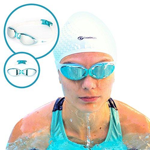 i-Swim Pro Lunettes de Natation - Technologie de Revêtement Antibuée - Vision Claire - Étanche - Confortable - 100% Garantie de Remboursement - Traitement Miroir Avec Protection UV - Lunette de Natati Bleu
