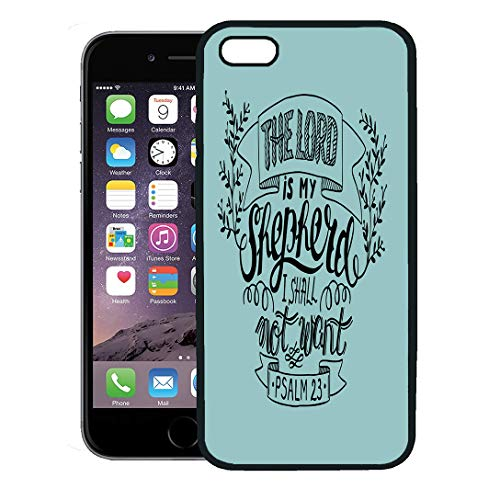 Semtomn Phone Case for iPhone 8 Plus case Cover,Believe Hand Lettering The Lord is My Shepherd I Shall Not Want Psalm Biblical Christian Bell,Rubber Border Protective Case,Black