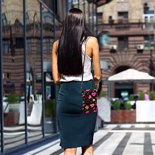 Hdadwy mobiltelefon crossbody väska flera symboler kvinnor PU-läder mode handväska med justerbar rem