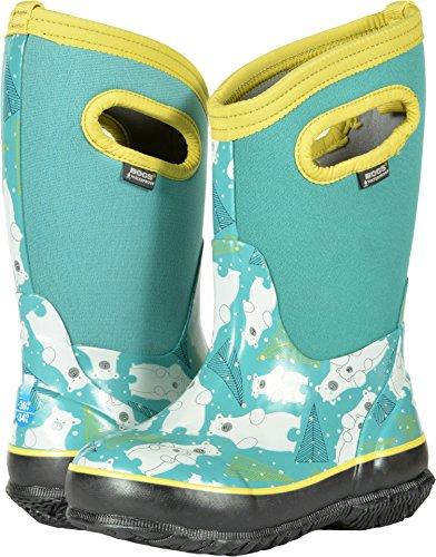 Print Fan Aqua (Bogs Kids' Classic High Waterproof Insulated Rubber Neoprene Rain Snow Boot, Bears Print/Aqua/Multi, 10 M US Toddler)