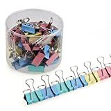 40Pcs Mix-Color Binder Clips Paper Clamp Office School Document File Holder Organizer With Storage Case