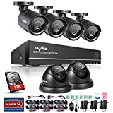 SANNCE 8CH 1080N Security Camera System CCTV DVR with 1TB Hard Drive and (6) 720P Night Vision Surveillance Cameras, IP66 Weatherproof , P2P Technology/E-Cloud Service, QR Code Scan Remote Access
