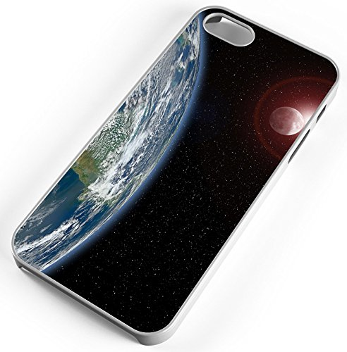 iPhone 7 Plus 7+ Case Planet Earth The Mothership Journey Through The Stars Customizable TYD Designs in White Rubber ()