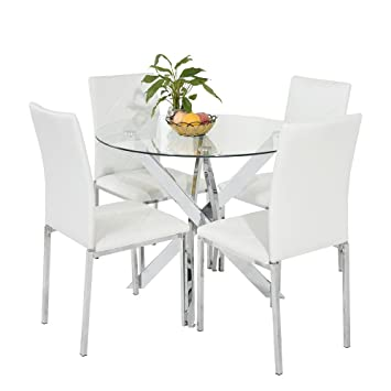 ae8d0606ae7 Yenlon New Chrome Round Circular Glass Round Dining Table With 4 Faux  Leather Dining Chairs Set (White)  Amazon.co.uk  Kitchen   Home