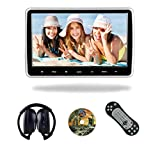 KWONGLUNG 10.6 Inch Wide Screen 1080P Super Clear Vehicle Headrest DVD Player for Car Rear Seat with IR Headphones and HDMI Port/USB/SD Card Slot(118HD)