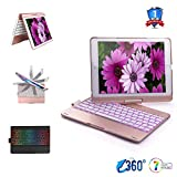 6TH Generation iPad Case with Pencil Holder,iPad Keyboard Case Compatible for iPad 5TH Generation(iPad 9.7inch), iPad Pro 9.7, iPad Air 2, iPad Air -360 Rotation 7 Color Backlit(Rose Gold)