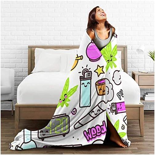 Hlcenng Personalized Custom Throw Blanket,Green Weed Marijuana Kawaii Cartoon Pattern White Cannabis Leaf Smoke Bong Pot… |