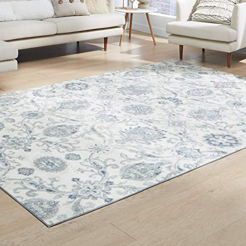 Maples Rugs Area Rugs - Blooming Damask 7 x 10 Distressed Style Large Rug [Made in USA] for Living Room, Bedroom, and Dining Room, Gray/Blue