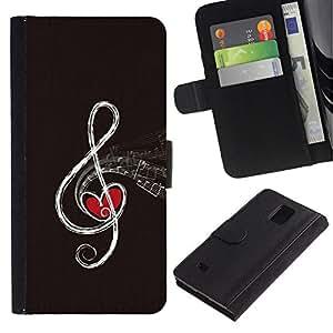All Phone Most Case / Oferta Especial Cáscara Funda de cuero Monedero Cubierta de proteccion Caso / Wallet Case for Samsung Galaxy Note 4 IV // MUSIC NOTE ABSTRACT