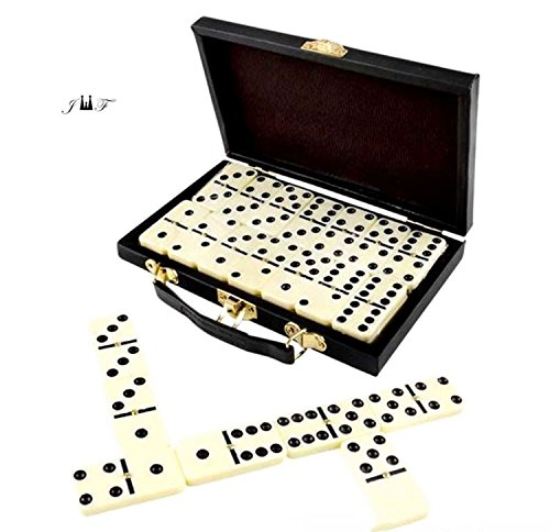 28 Piece Domino Set-Premium Classic Double Six In Durable Wooden Brown Box-Anytime Entertainment-Long time Storage, Easy Transport, Its Durable, Wooden Case Will Keep For Years Without Misplacing Pcs (Gift Dominoes Box)