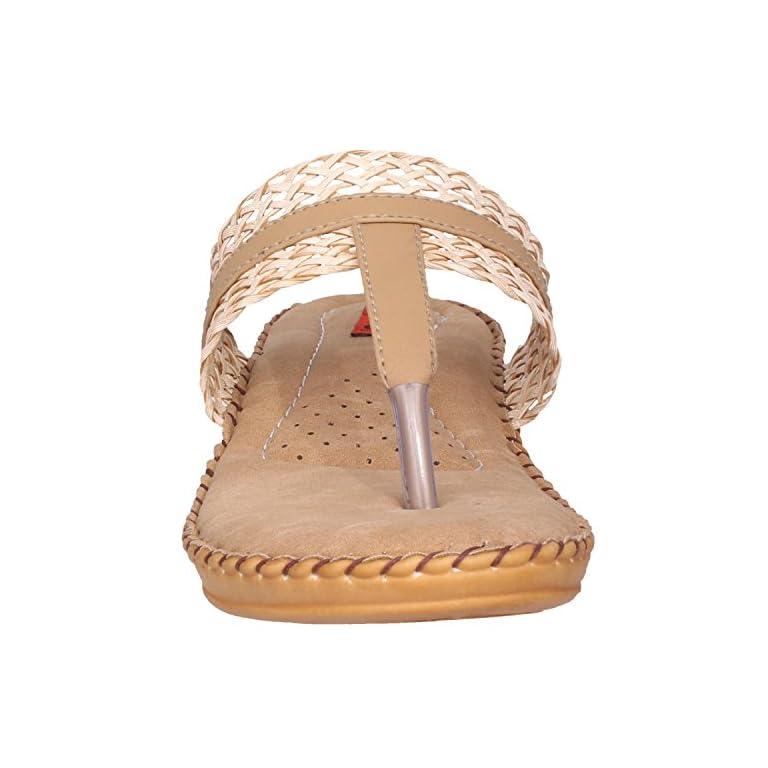 51w70iZkZ7L. SS768  - 1 Walk Comfortable Synthetic Leather Doctor Sole Women's Flats - Beige