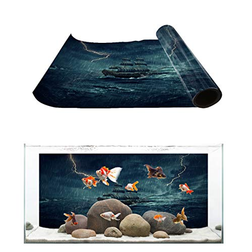 (Fantasy Star Aquarium Background Sailboat Sailing in The Roaring Waves Thunderstorm Fish Tank Wallpaper Easy to Apply and Remove PVC Sticker Pictures Poster Background Decoration 20.4