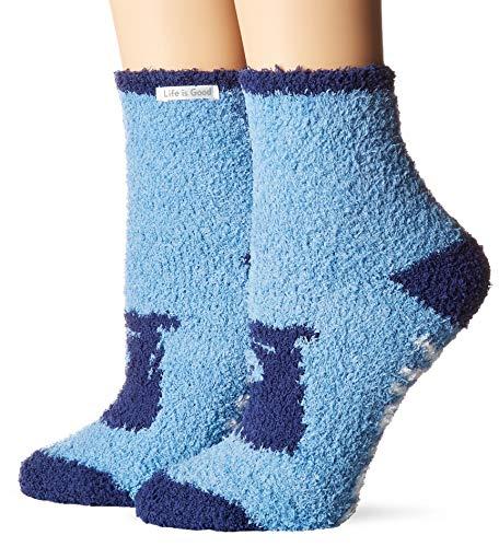 Life is Good Womens Snuggle Slipper Sock Collection,Bearly Awake,Powder Blue