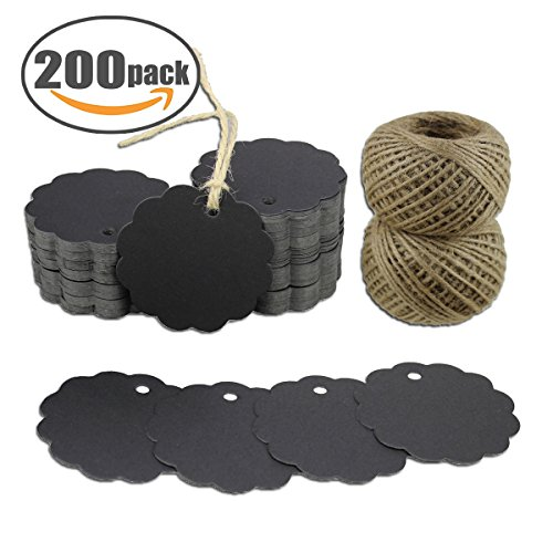 Kraft Gift Tags 200 PCS Scalloped Round Paper Tags Blank Label with Jute Twine for Handmade Party Favors as Thank You Card Vintage Brown Price Tags (Black)