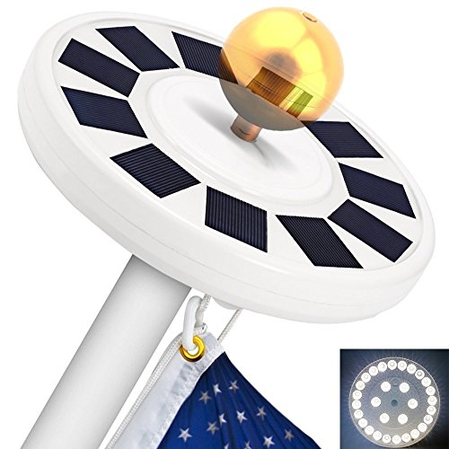System 2 Flag (TOTOBAY 30 LED Solar Power Flag Pole Lights, {Upgraded Version} Weatherproof Flagpole Downlight for Most 15 to 25 Ft Auto On/Off Night Lighting- Eco-friendly and Energy-saving)