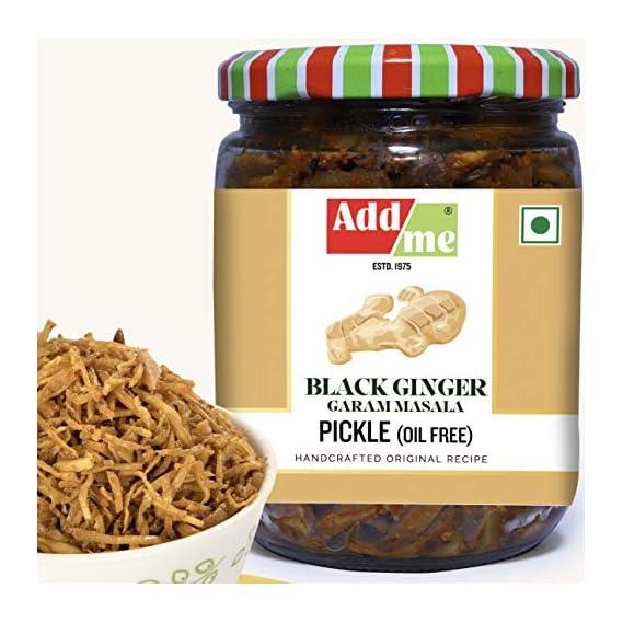 Add me Home Made Ginger Pickle Garam Masala 500gm No Oil Adrak ka Achar Glass jar