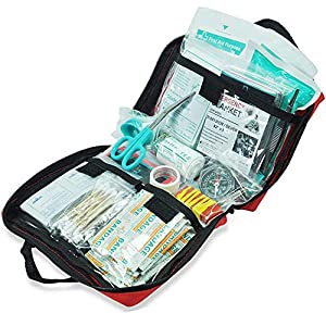 General Medi 160 Piece Premium First Aid Kit Bag – Includes Cold (Ice) Pack, Emergency Blanket for Travel, Home, Office, Car, Camping, Workplace (Red)