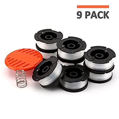 "[9-Pack] Line String Trimmer Replacement Spool, 30ft Line 0.065"" Diameter Auto-Feed Replacement Spools, for Black and Decker String Trimmers, 9 Pack (8 Replacement Spool, 1 Trimmer Cap)"