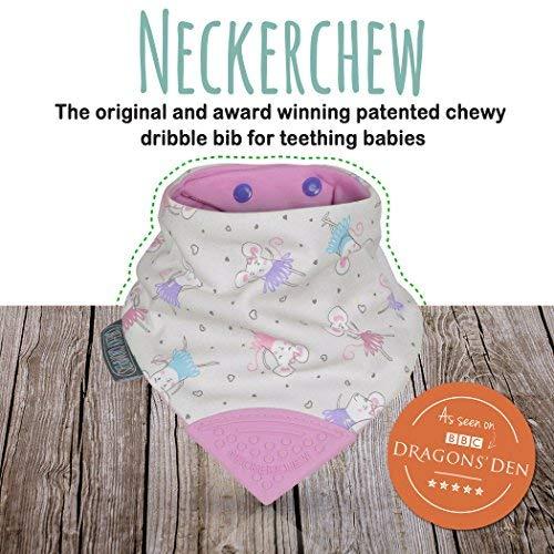 The Original Chewy Teething Bib : Super Absorbent Reversible Bandana Drool Bib For Teething Babies. Food-Grade Silicon Teethers are BPA-Free | Ballarina Mice Neckerchew by CHEEKY CHOMPER