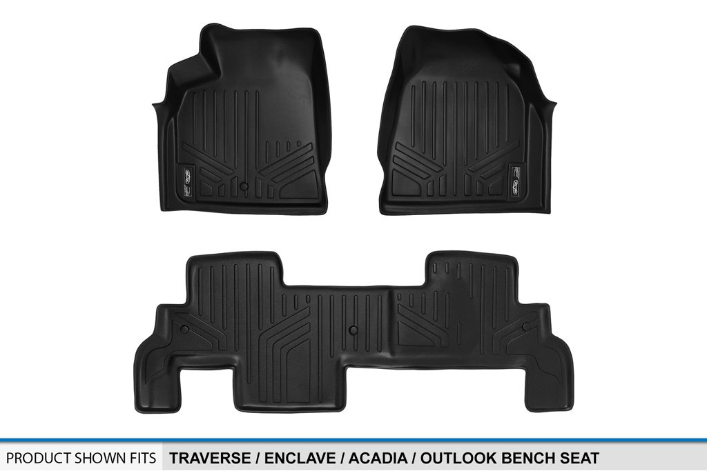 SMARTLINER Floor Mats 2 Row Liner Set Black for Traverse//Enclave//Acadia//Outlook with 2nd Row Bench Seat