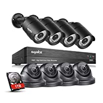 SANNCE HD-TVI 1080P Surveillance Cameras System W/ 8-Channel DVR Recorder (1TB HDD Included) 4 Bullet Cameras and 4 Dome Cameras 100ft Night Vision, Easy Remote Access Motion Detection