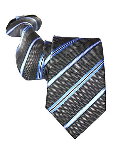 Men's Elegant Dark Grey Striped 100% Silk Skinny Ties Zip Textured Woven Formal Wedding Neckties ()