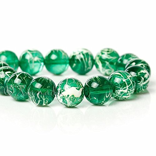 Emerald Green Wholesale 10mm Marble Glass Beads G4050-50 Pcs Beads for Jewelry Making, Supply for DIY Beading Projects