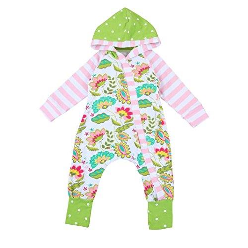 Flower Child Outfit (TATGB Baby Boys Girls Flower Hooded Rompers Jumpsuit Outfits Clothes Green 6-24M)