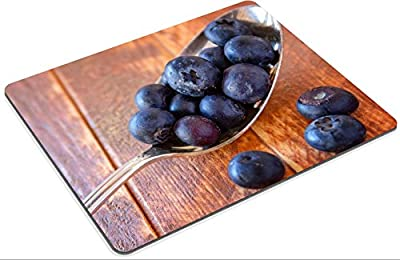 MSD Natural Rubber Gaming Mousepad Close up fresh organic blueberries sitting on vintage silver spoon on wooden table IMAGE 26784211