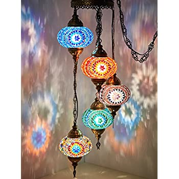 Demmex Turkish Moroccan Mosaic Plug In Swag Pendant Lamp