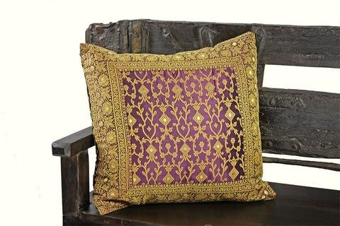 Embroidered Pillow Cover, hand stitched from original sari fabric and framed with an ornate embroidered border. Vine pattern on front and back. Flap Back closure. Handmade in Rajasthan and imported. E