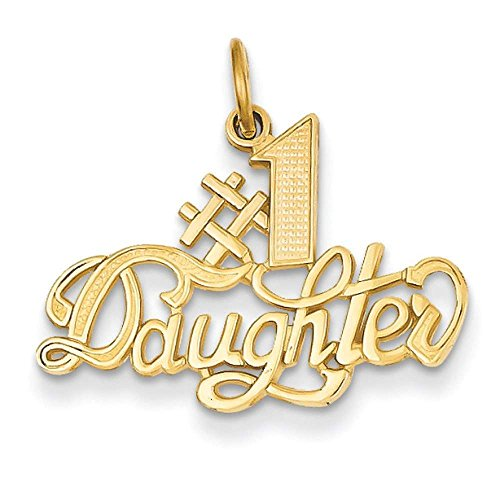 14k Yellow Gold #1 Daughter Casted Polished Charm Pendant 22mmx23mm by Venture Gold Charms Collection
