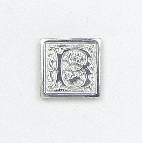 """Letter"""" B"""" Initial Pin - Magnetic Back Closure - No holes in Clothes - Handcrafted Bright Polished Pewter Made in USA"""