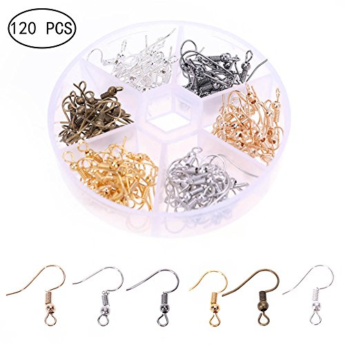 MSTG Tech 120pcs Fish Earring Hooks Ear Wires Stainless Steel Hooks for Jewelry Making with Transparent Storage Box, 6 - Bronze Color Copper
