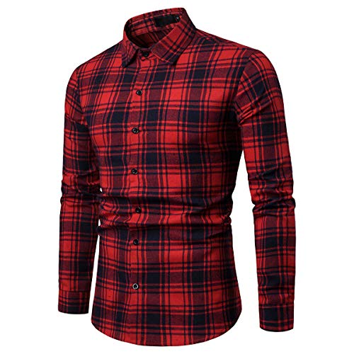 Coupe En Allthemen Longues Carreaux Coton Droite Manches Homme Chemise Rouge Casual 6nqpn7FZ1