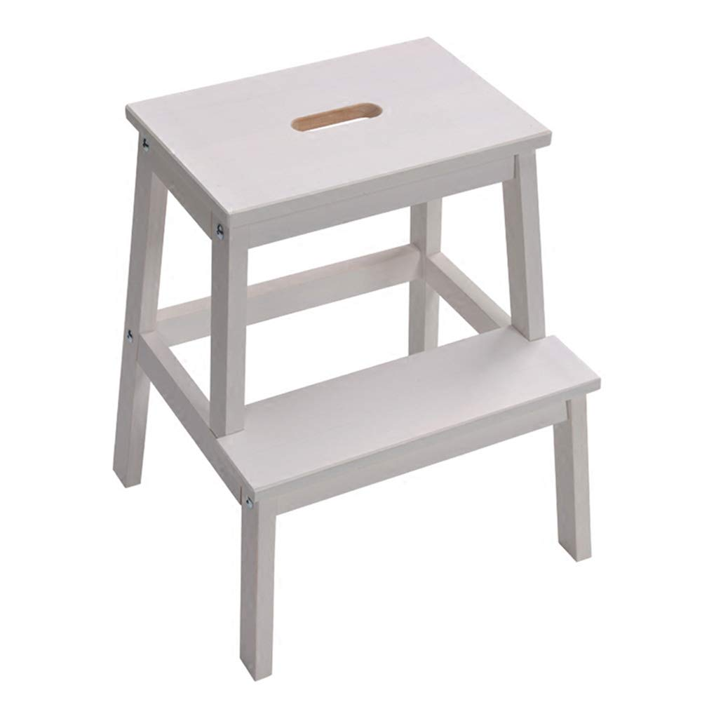 White 2 Step Stool Ladder Kitchen Wooden, Household Stairs High Low Change shoes Two Step Stool