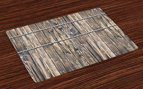 Ambesonne Rustic Place Mats Set of 4, Image of Wooden Planks with Screws and Nails Farmhouse Theme Log Cabin Print, Washable Fabric Placemats for Dining Table, Standard Size, Brown Grey