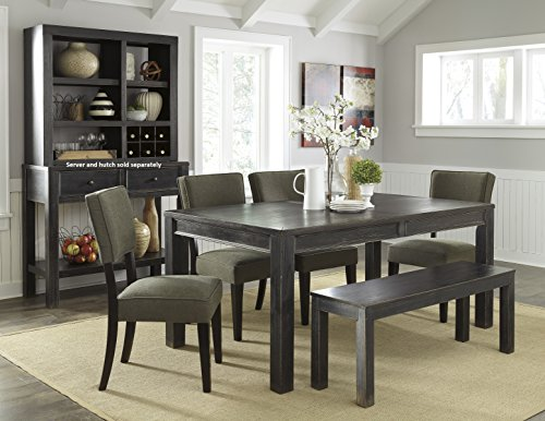 6-Piece Gavellestong Dining Set with Black Rectangular Table, 4 Chairs and Bench