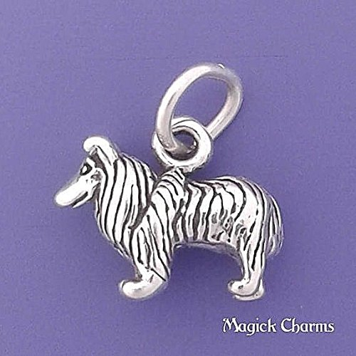 (925 Sterling Silver 3-D Collie Dog Sheltie Charm Miniature Jewelry Making Supply, Pendant, Charms, Bracelet, DIY Crafting by Wholesale)