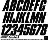 "STIFFIE Shift Black 3"" ID Kit Alpha-Numeric Registration Identification Numbers Stickers Decals for Boats & Personal Watercraft"