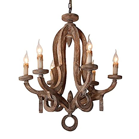 Rustic cottage chic sculpted wooden 6 light chandelier ceiling light rustic cottage chic sculpted wooden 6 light chandelier ceiling light fixture with candle shaped light aloadofball Image collections
