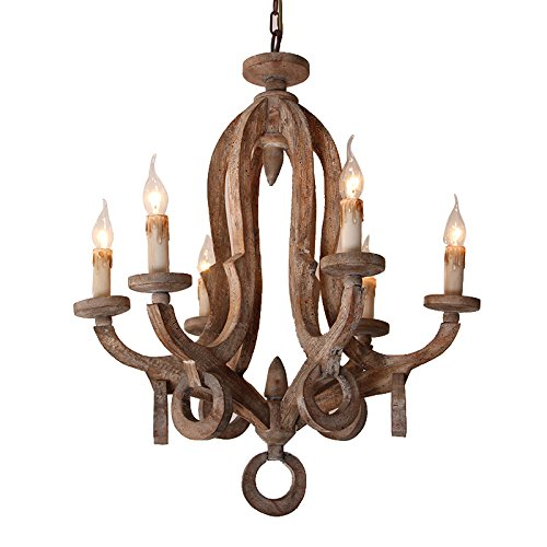 Rustic Cottage Chic Sculpted Wooden 6-Light Chandelier Ceiling Light Fixture with Candle Shaped Light For Sale